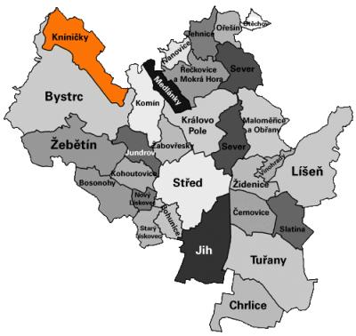 Umístění Kníniček na mapě Brna